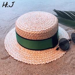 $enCountryForm.capitalKeyWord NZ - 100% Natural Wheat Straw Women Beach Sun hat With Flat Pork Pie Lady Fashion Boater Sunhat