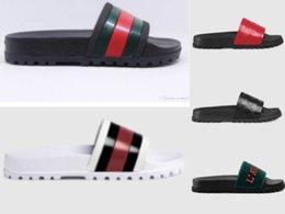 Micro Gears Australia - Designer Rubber slide sandal Floral brocade men slipper Gear bottoms Flip Flops women striped Beach causal slipper with Box Eu:35-45