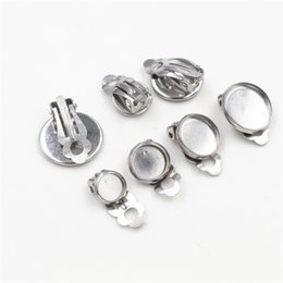 $enCountryForm.capitalKeyWord Australia - 6 8 10mm 10pcs lot Stainless Steel Material Ear Clips ,Stainless Steel Earring Base Cameo Bezels Tray For Jewelry Supplies