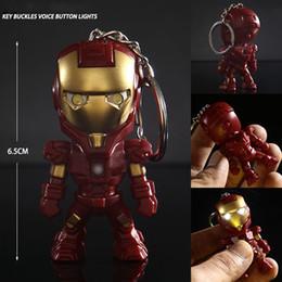 $enCountryForm.capitalKeyWord Australia - Classic Iron Man Pendant Keychain The alliance LED keychain Mini PVC Action Figure with LED Light & Sound keyring ZKAM