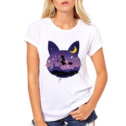 anime cat t shirt 2019 - Midnight Cat Stroll Japan Anime Sailor Moon White T-shirt Luna Cat Ear short Sleeve Cartoon Print Casual Top Tee for Wom