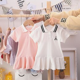 Wholesale polo white stripe resale online - Summer Girls short sleeve dress preppy style children rabbit embroidered stripe lapel pleated dress kids cotton polo dress A3122