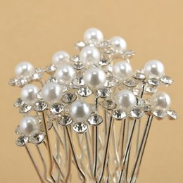 $enCountryForm.capitalKeyWord Australia - Women Retro Pearl Hairpin Fashion Flower Diamond Hair Sticks Clips Headwear Crystal Diamante Pearl Flower Hair Pins LJJ_TA797