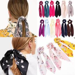$enCountryForm.capitalKeyWord Australia - 14pcs lot New arrival Solid Floral Print Bow Satin Ribbon Ponytail Scarf Hair Tie ScrunchieS Elastic Hair Bands Hair Accessories
