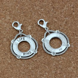 Ring Slides Australia - 100pcs lots Antique Silver LIFE RING Floating Lobster Clasps Charm Beads Fit Charm Bracelet DIY Jewelry 21.8x37mm A-418b