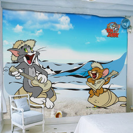 wallpaper cartoons Australia - 8D Large Papel Mural Mouse Cat 3d Wall Mural Cartoon Animal Photo Wallpaper For Kids Custom Children Room TV Sofa Backdrop Wall Murals Paper