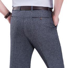Wholesale men dressing grey trouser resale online - Summer Mens Long Grey Oversized Suit Pants Slim Business Formal Trousers Gray Male Office Wear Men Straight Cotton Dress Pants