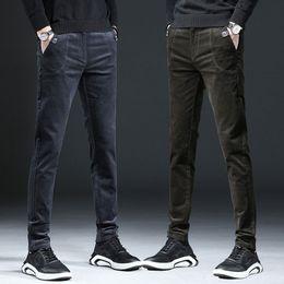Male Fashion Suits Australia - Slim Formal Men Business Suit Pants Male Fashion Streetwear Trousers Office Mens Velvet Dress Pants Corduroy Black