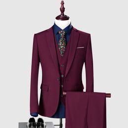 Tweed Suits Blazers Australia - Custom Burgundy Wedding Suits for Groom Tuxedo Men Suits 3 Pieces Slim Fit Bridegroom Blazers Formal Business Jacket Prom Wear Pants Vest