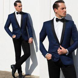 $enCountryForm.capitalKeyWord Australia - Navy Blue Jacket Shawl Lapel Formal Party Suits Mens Suits for Wedding 2 Piece Groom Suits Slim Fit Man Wedding Tuxedo Suit