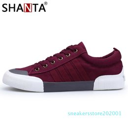 vulcanized canvas shoes Canada - SHANTA 2019 Men Canvas Shoes Fashion Solid Color Men Vulcanized Shoes Lace-up White Casual Shoes Men Sneakers chaussure homme s01