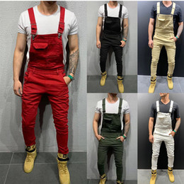 Wholesale hot red jumpsuits for sale – dress Fashion Men s Ripped Jeans Jumpsuits Hi Street Distressed Denim Bib Overalls For Man Suspender Pants Hot