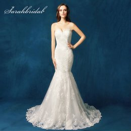 $enCountryForm.capitalKeyWord Australia - Newest Mermaid Chic Lace Appliques Wedding Dresses Sexy Sweetheart Tulle Zipper Back Button Classic Bridal Gowns SW085