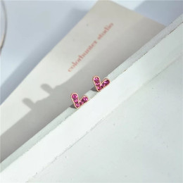Silver Red Roses Australia - S925 Silver Needle Anti-allergic Rose-gold Temperament Loving Ear Nails Rose-red Baitao Delicate Earrings
