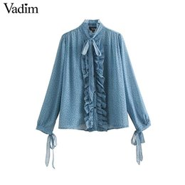 eca737d64 Vadim mujer puntos imprimir volantes cuello blusa de gasa pajarita volantes  camisas de manga larga femenina casual básico elegante tops LA872