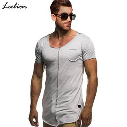fashion men slim fit t shirt Australia - wholesale 2019 Summer Long T Shirt Men Short Sleeve Fitness T-shirt Fashion Solid Slim Fit O Neck Tshirt Men's Hip Hop