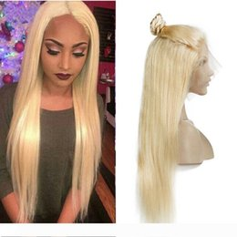 straight lace front wig cheap UK - Brazilian Honey Blonde Full Lace Human Hair Wigs With Baby Hair Cheap Colored 613# Straight Blonde Lace Front Wigs For Black Women