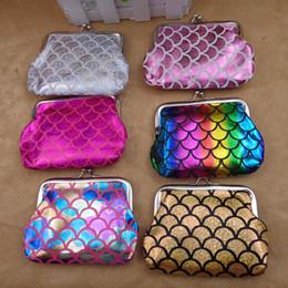 Bags Fish Scale Australia - Baby Mermaid Coin Purse cartoon cute kids Fish scale wallet 12 colors handbag children Shell Bags B11