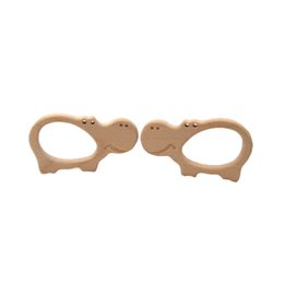 infant teethers NZ - 4pcs Beech Wooden Hippopotamus Teether Animal Shaped Baby Teethers Infants Teething Toys Baby Accessories For Baby Necklace Making