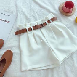 Suit Design Colors Australia - CamKemsey Korean Brief Design White Suit Shorts For Women 2019 Fashion Solid High Waist Wide Leg Shorts With Belt 5 Colors