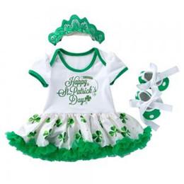 Chinese  Baby Dress Sets Saint Patrick's Day Girls Bodysuit Tutu Skirt Sleeveless Romper Dress Lace Ruffle Crown Headband Clothing GGA1584 manufacturers
