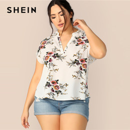 63a96b0c04 HigH low blouses online shopping - SHEIN Plus Size White V Placket High Low  Floral Print