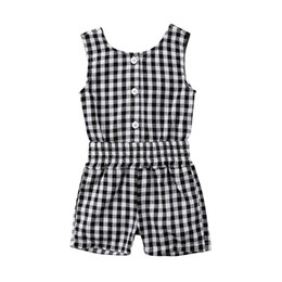 $enCountryForm.capitalKeyWord UK - New Fashion Toddler Kids Girls Summer Plaid Romper Sleeveless Back Hole Children Jumpsuit Playsuit Outfit Sunsuit