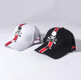 Skull Cap Ball Australia - PP Hats Summer Men Women Black White Skull Printed Caps Fashion Plin Ball Caps
