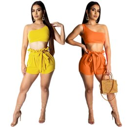 sexy clothes sold wholesale UK - Women solid plain 2 piece set sexy club summer clothes crop top shorts sweatsuit pullover leggings outfits t-shirt bodysuits hot sell 0110