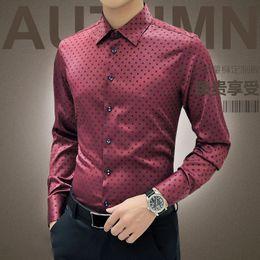 Dotted Shirts Australia - New Arrival Autumn Korean Men Shirt Long Sleeve 2019 Red Dot Shirt Cotton Mens Silk Casual Shirts Wedding Camisa Male