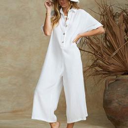 $enCountryForm.capitalKeyWord Australia - Women Jumpsuit Cotton Linen Solid Color Lady Summer Overalls Loose Harem Pants Long Trousers Casual Buttons Wide Leg Jumpsuits Y19071701