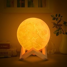 moon bedside lamp Australia - 3D Print Moon Lamp LED Light Bedroom Desk Table Bedside Lamps USB Rechargeable Night Lights for Home Room Christmas Decoration
