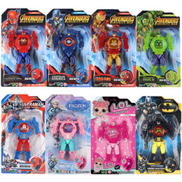 Wholesale Light watch Kids Avengers deformation watches New Children Superhero cartoon movie Captain America Iron Man Spiderman Hulk Watch toys