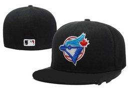 black flat brim hat Australia - Fashion-New Hot Men's Toronto Blue Color fitted hat flat Brim embroiered blue jays tefans baseball Hat Blue Jays full closed Chapeu bra