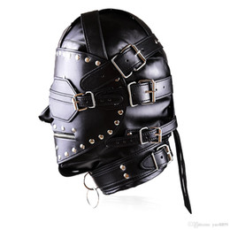 leather mask blindfolded gagged Australia - 2020 New Bondage Luxury Full Leather Bondage Hood   Gimp Mask with Blindfold & Locking Mouth Zip T885
