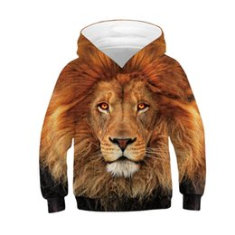 sportswear for girls UK - Lion Wolf Tiger Unicorn Hoodies For Boy Girl Teens Spring Hooded Boys Sweatshirt Kids Sportswear Clothes Children Pullover Tops
