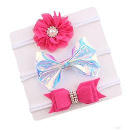 $enCountryForm.capitalKeyWord UK - New 11 style Boutique Baby Pear Flower Headbands Laser Hair Bows Set Soft Nylon Headband For Toddle Girl