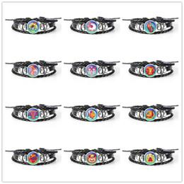 Handmade Glass Beaded Jewelry Australia - Vintage 12 Constellation Zodiac Time Gem Glass Cabochon Charm Bracelets & Bangles For Women Men Handmade Genuine Leather Rope Beaded Jewelry