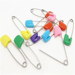 baby diaper safety pins UK - Bread Head Large Metal Pin Secure Baby Diaper Stainless Steel Color Child Safety Pin Candy Color Multifunctional 500 pcs