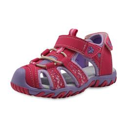 Brown Toddler Sandals Australia - Apakowa New Sport Beach Cutout Summer Kids Toddler Closed Toe Girls Sandals Children Shoes Eu 21-32 Q190601