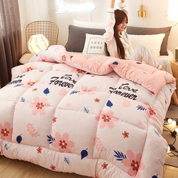 feather duvet set UK - New Fashion 100% Feather Fabric Winter Thick Duvet Bread Shape Comforter Cartoon Printing Quilt Bed Set Blanket CF