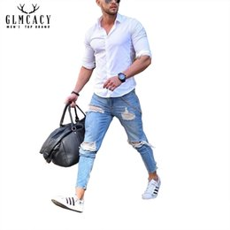 $enCountryForm.capitalKeyWord NZ - Men's Blue Hollow Out High Street Ripped Ankle Length Jeans Distressed Slim Fit Tapered Strech Denim