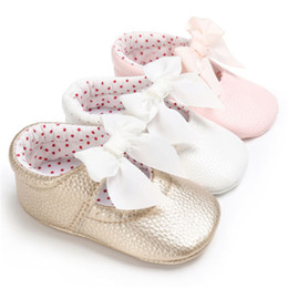 a051fadb60d4 Baby Leather Shoes PU Bowknot Princess Toddler Shoes Slip into Prewalkers  0-18 M New Baby Girl Skid Resistance Sweet