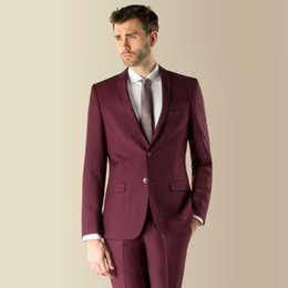 Grey tuxedo styles online shopping - New Style Groom Tuxedos Burgundy Groomsmen Notch Lapel Best Man Suit Wedding Men Suits Bridegroom Jacket Pants Tie A726