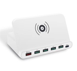 Qi Tablet UK - 10W Qi Wireless charger 5 Port Cell Phone Holder USB Charger station HUB Quick Charge for Tablet IPhone IPad Kindle Simultaneously