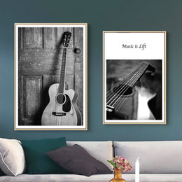 $enCountryForm.capitalKeyWord Australia - Black and White Guitar Cat Music is Life Canvas Paintings Vintage Wall Kraft Posters Coated Wall Stickers Home Decorative Gift