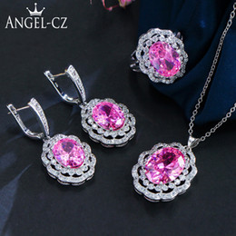 Pink African Beads Jewelry Set Australia - ANGELCZ 3 Piece 925 Sterling Silver CZ Sets For Women Pink African Beads Stone Nigeria Party Earrings Necklace Jewelry Set AJ102