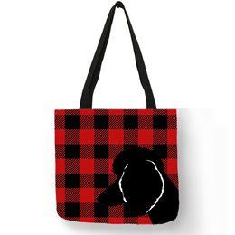 $enCountryForm.capitalKeyWord NZ - Artist Design Shoulder Bag For Women 2019 Poodle Silhouette In Plaid Print Handbag Linen Durable Fashion Beach Shopping Bag