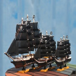 pirates pearl Australia - Wood black pearl Pirates Sailing Ship Model Handmade decoration furnishing articles Crafts Gift