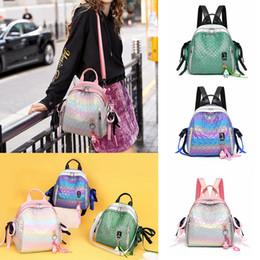 Shell backpackS online shopping - Gradient backpack rabbit pendant school bag shell student outdoor travel shouldder bag fashion girl zipper bags FFA2066